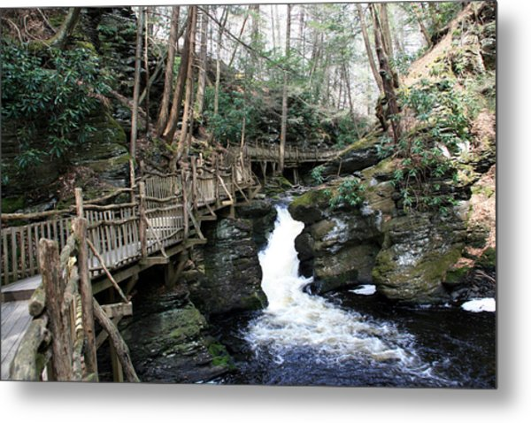 Bushkill Falls Boardwalk 2 Metal Print