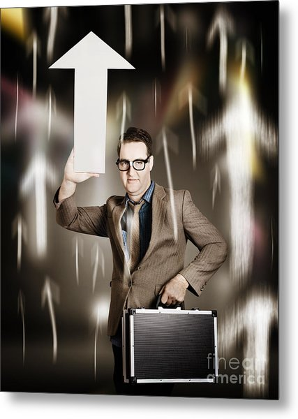 Businessman Pointing Up With White Arrow Symbol Metal Print
