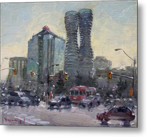 Busy Morning In Downtown Mississauga Metal Print