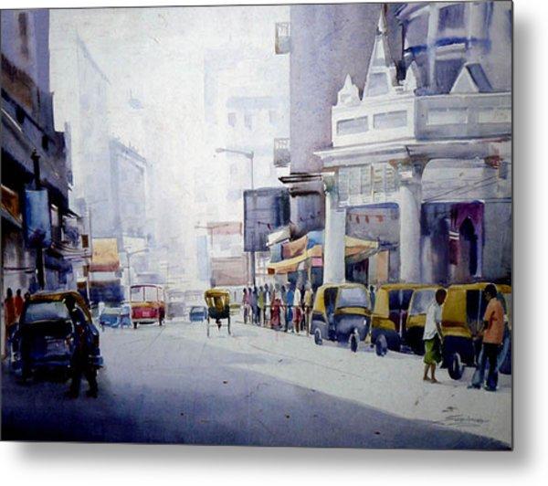 Busy Street In Kolkata Metal Print