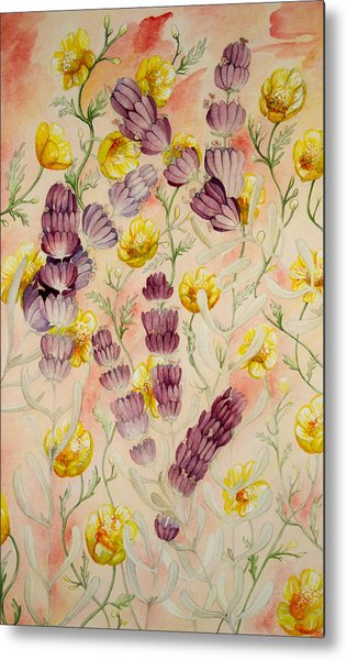 Buttercups And Lavendar Metal Print