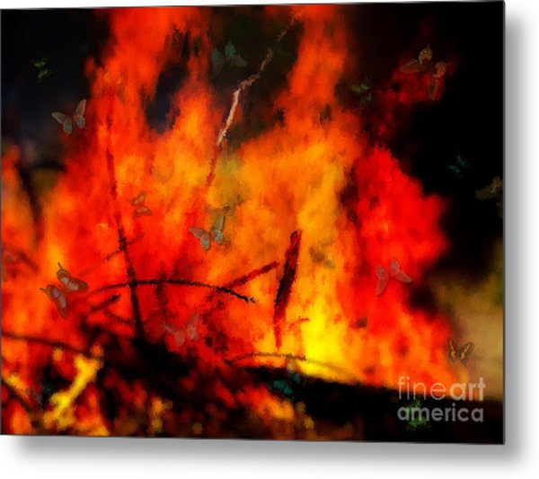 Butterflies And Flame Metal Print