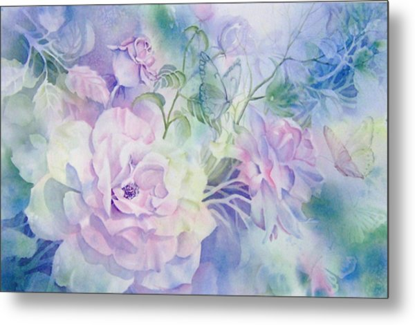 Butterflies-and-roses Metal Print by Nancy Newman