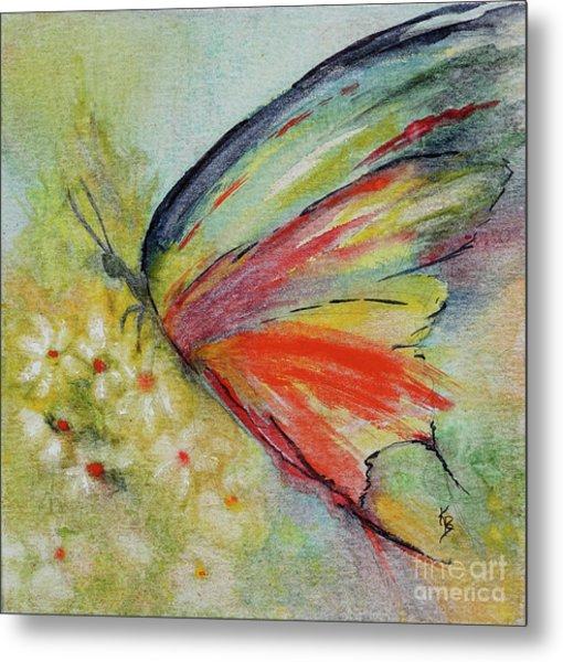 Metal Print featuring the painting Butterfly 3 by Karen Fleschler