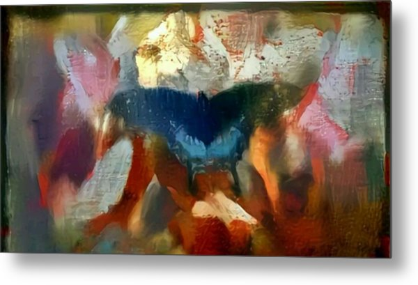 Butterfly Alla Prima Loose Sketch Painting Flowers In The Morning Metal Print by MendyZ