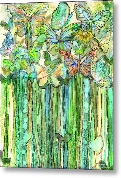 Butterfly Bloomies 1 - Rainbow Metal Print