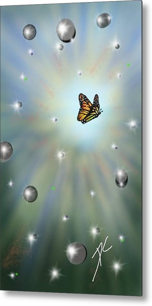 Metal Print featuring the digital art Butterfly Bubbles by Darren Cannell