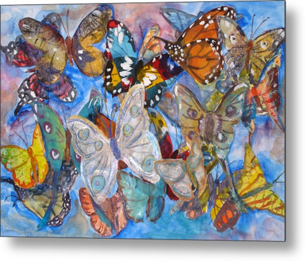 Butterfly Collage Metal Print by Joyce Kanyuk