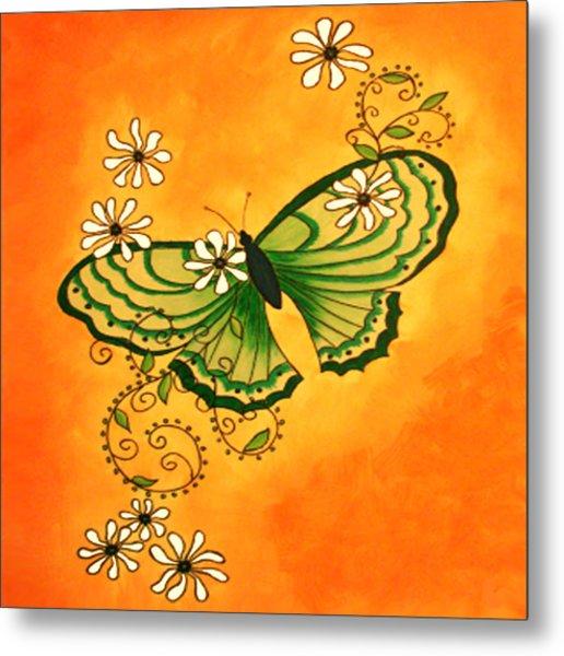 Butterfly Doodle Metal Print by Karen R Scoville