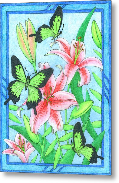 Butterfly Idyll- Lilies Metal Print
