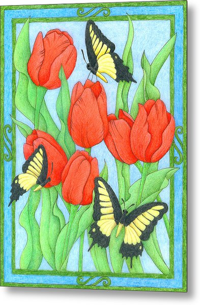 Butterfly Idyll-tulips Metal Print