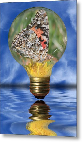 Metal Print featuring the photograph Butterfly In Lightbulb by Shane Bechler