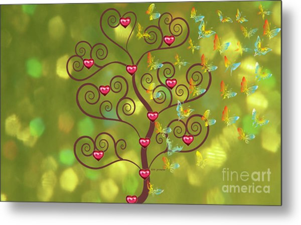 Butterfly Of Heart Tree Metal Print