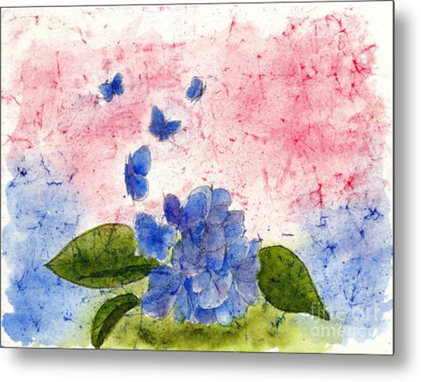 Butterflies Or Hydrangea Flower, You Decide Metal Print