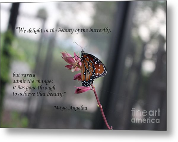 Butterfly Quote Art Print Metal Print