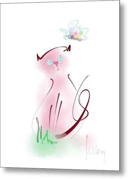 Metal Print featuring the mixed media Butterfly Surprise by Larry Talley