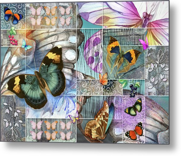 Butterfly Wings Collage Metal Print