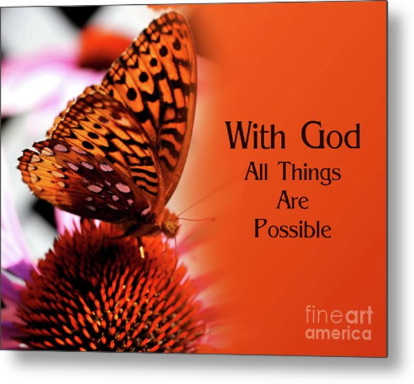 Butterfly With God Inspirational Metal Print