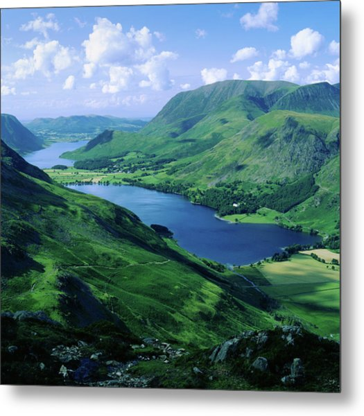 Buttermere And Crummock Water From Haystacks, Cumbria. Uk Metal Print