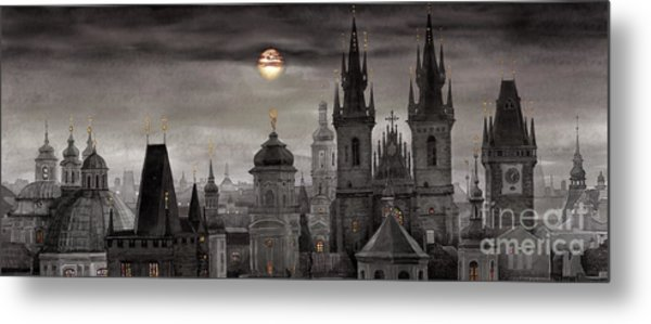 Bw Prague City Of Hundres Spiers Metal Print