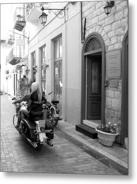 Bw Sexy Girl Riding On Motorcycle With Handsome Bike Rider Speed Stone Paved Street Nafplion Greece Metal Print