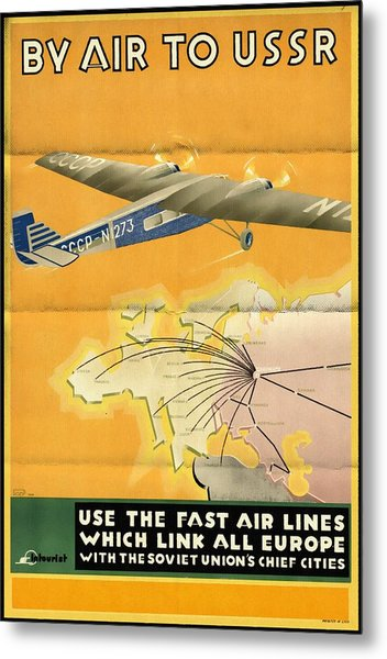 By Air To Ussr With The Soviet Union's Chief Cities - Vintage Poster Folded Metal Print