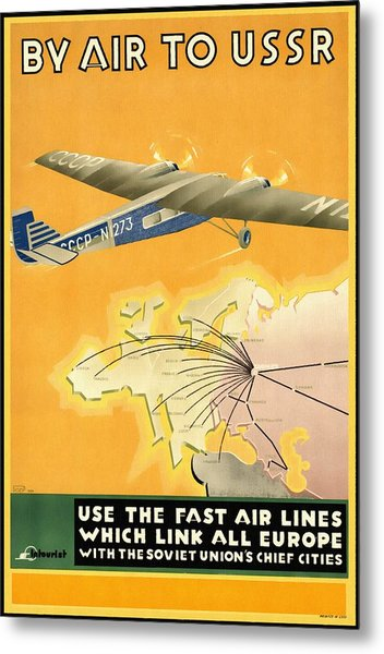 By Air To Ussr With The Soviet Union's Chief Cities - Vintage Poster Restored Metal Print