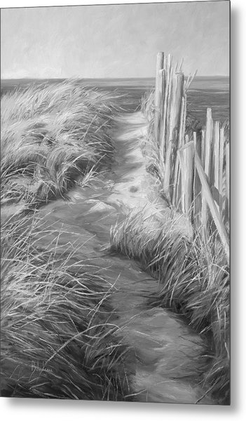 By The Sea - Black And White Metal Print