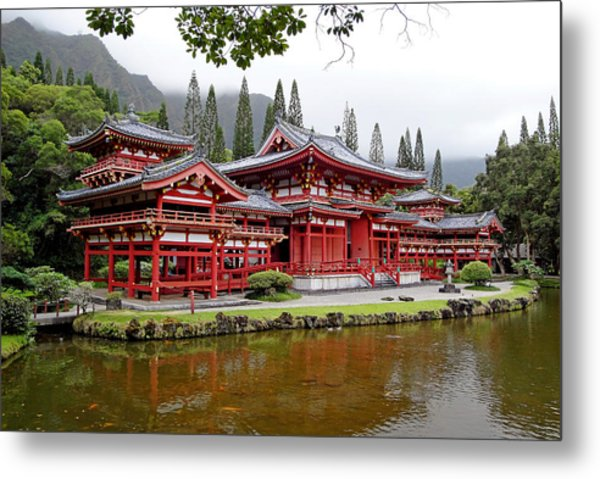 Byodo-in Temple Oahu Metal Print