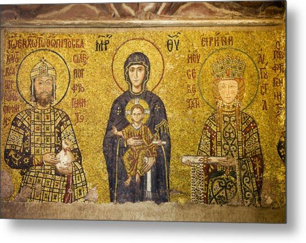 Byzantine Mosaic In Hagia Sophia Metal Print