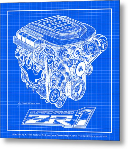 C6 Zr1 Corvette Ls9 Engine Blueprint Metal Print