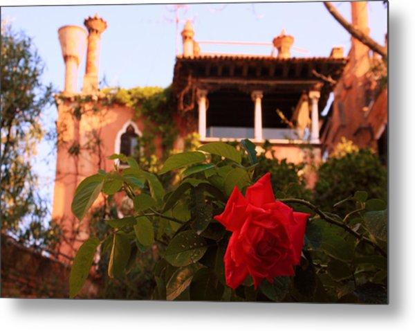 Ca' Dario In Venice With Rose Metal Print by Michael Henderson