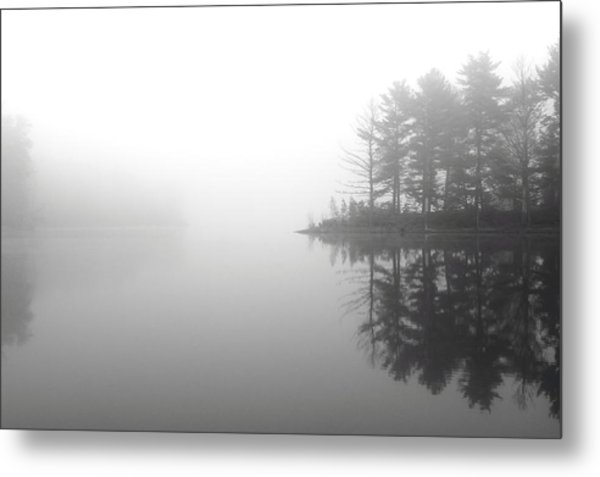 Cabin In The Foggy Woods Metal Print