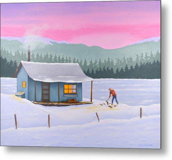 Cabin On A Frozen Lake Metal Print