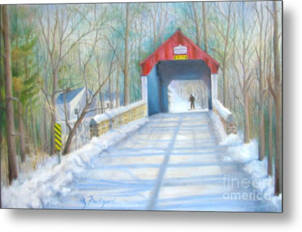 Cabin Run Bridge In Winter Metal Print