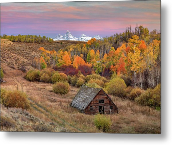 Metal Print featuring the photograph Cabin Under The Tetons by Leland D Howard