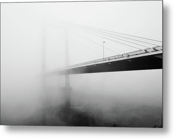Cable Bridge Disappears In Fog Metal Print by Photos by Sonja