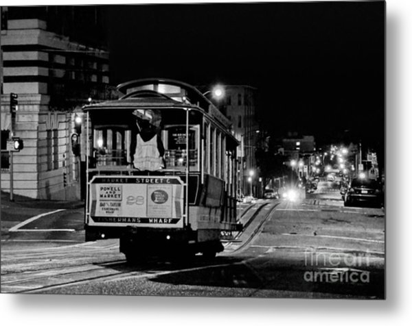 Cable Car At Night - San Francisco Metal Print