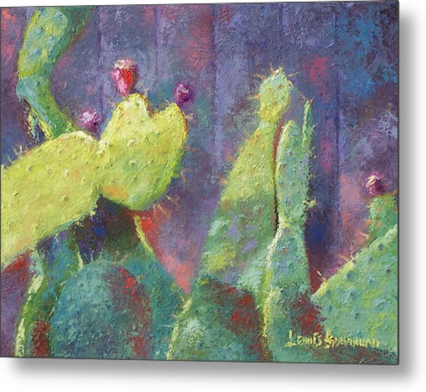 Prickly Pear Cactus Against Fence Metal Print