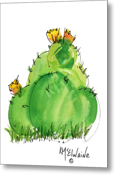 Cactus In The Yellow Flower Watercolor Painting By Kmcelwaine Metal Print