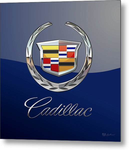 Cadillac 3 D  Badge Special Edition On Blue Metal Print