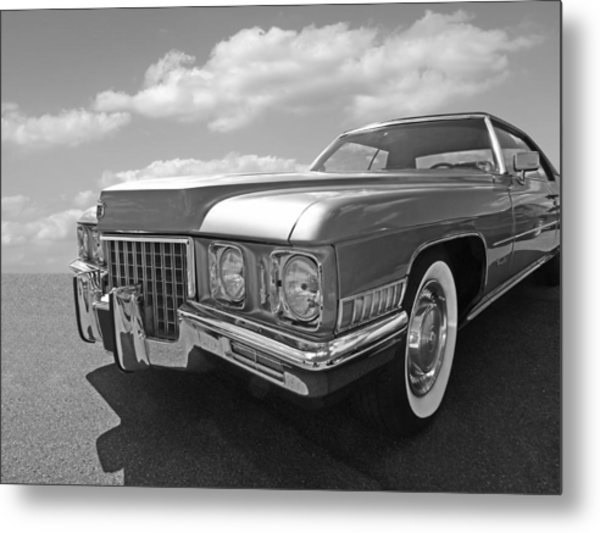 Cadillac Coupe De Ville 1971 In Black And White Metal Print