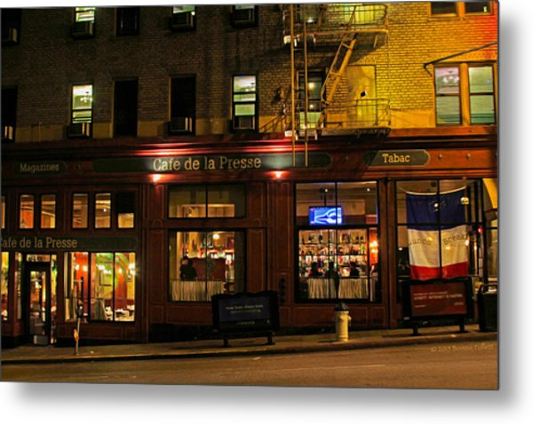 Cafe De La Presse On Bush St Metal Print