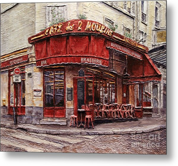 Cafe Des 2 Moulins- Paris Metal Print