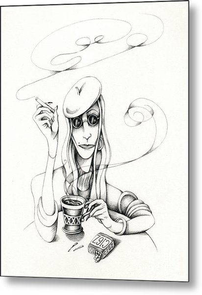 Cafe Lady Metal Print
