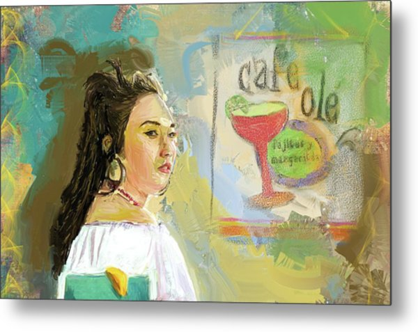 Cafe Ole Girl Metal Print