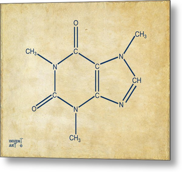 Metal Print featuring the digital art Caffeine Molecular Structure Vintage by Nikki Marie Smith