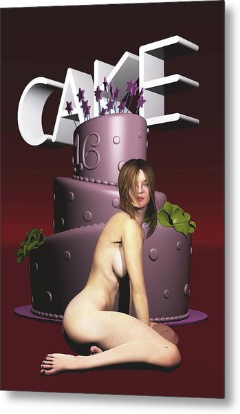 Metal Print featuring the painting Cake by Jan Keteleer