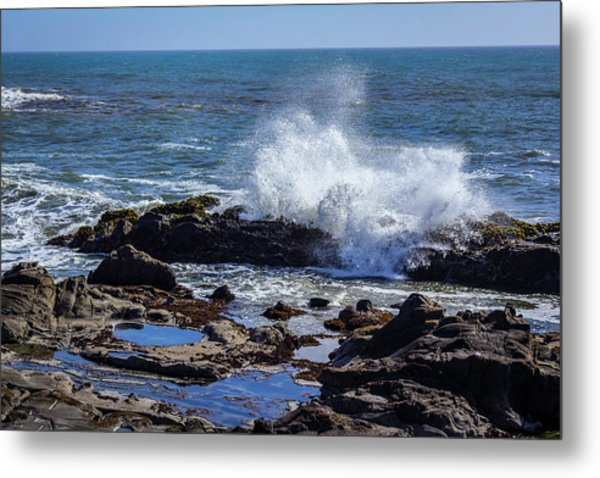 Wave Crashing On California Coast Metal Print
