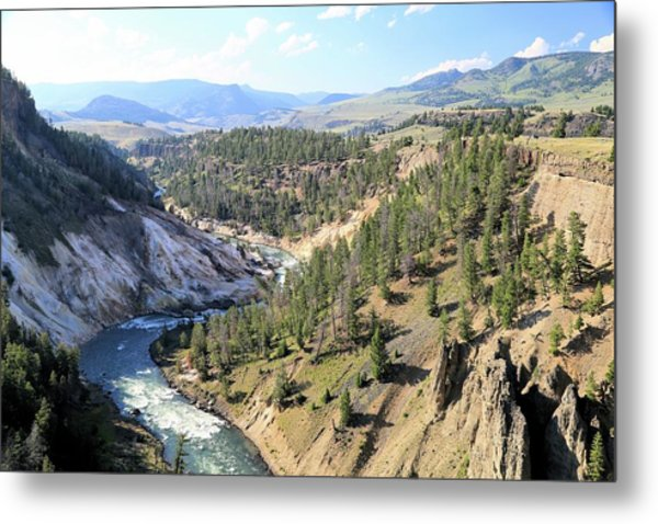 Calcite Springs Along The Bank Of The Yellowstone River Metal Print